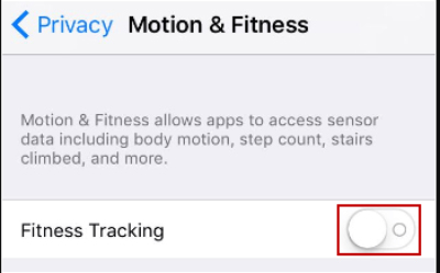 Fitness-Tracking deaktivieren.