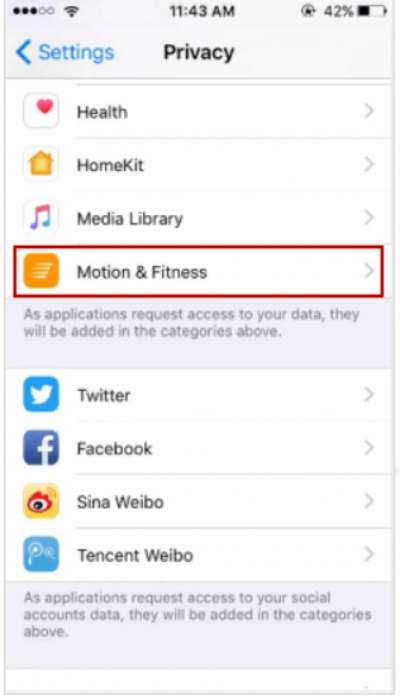 Motion Fitness Tracking deaktivieren