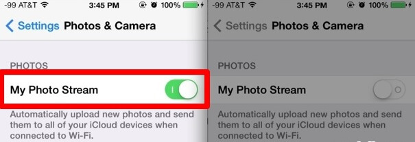 free up photo space by disabling photo stream