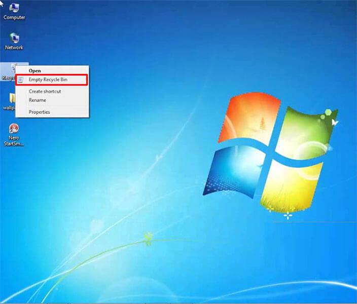 empty recycle bin windows 7 from desktop