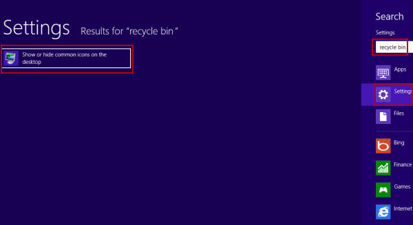 remove recycle bin from desktop on win 8 - show common icons