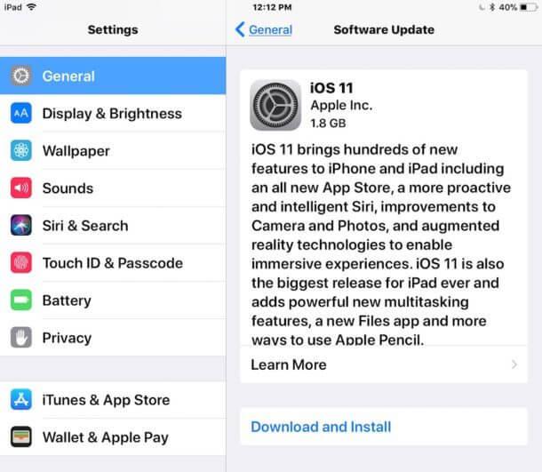 update ipad