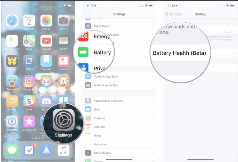 Zustand des iPhone-Akkus