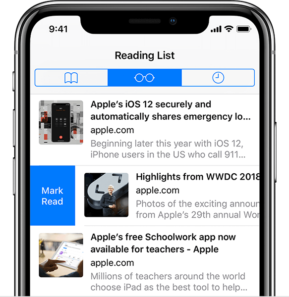 reading list in iPhone