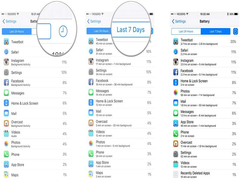 iphone settings battery details