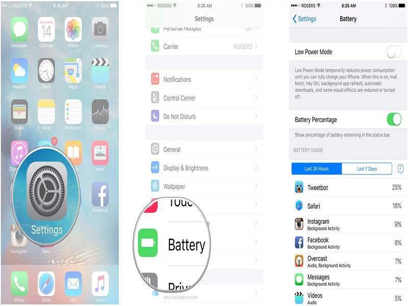 ajustes de batería del iphone