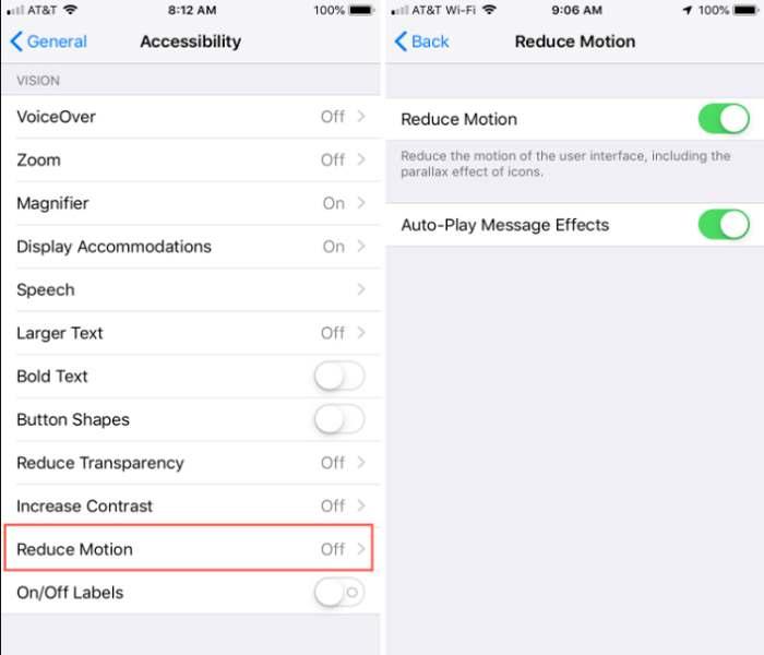 bewegungen reduzieren auf dem iphone