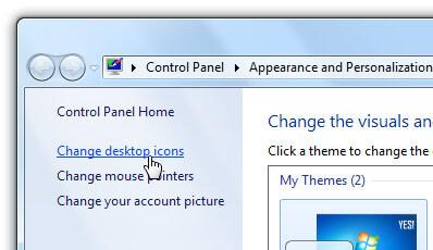 remove recycle bin from desktop on win 7 - unmark recycle bin