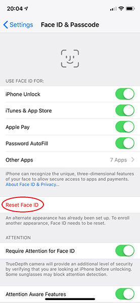 Restablecere Face ID