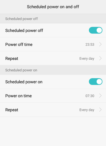 scheduled powering of android