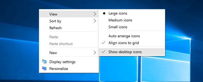 remove recycle bin from desktop on win 10 - show icon