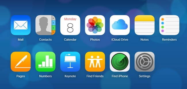 home page of iCloud