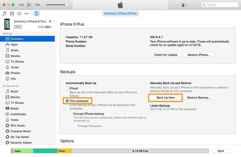 Backup iPhone auf iTunes