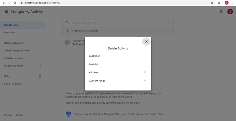 delete your activity data