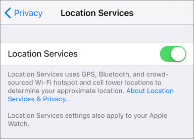 toggle switch of Location Services