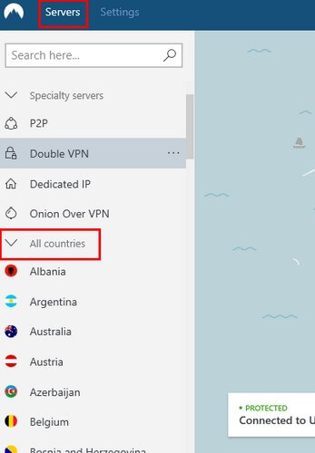 paramètres de VPN