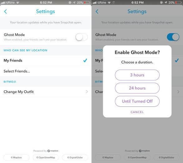 Ghost Mode settings