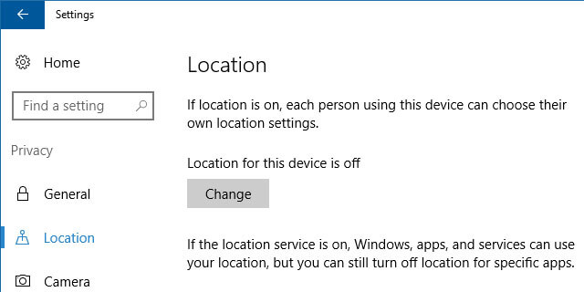 change location settings