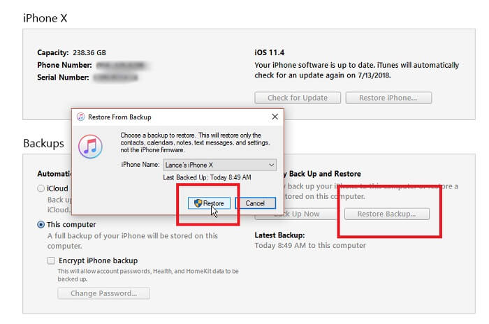 itunes tool to restore backup