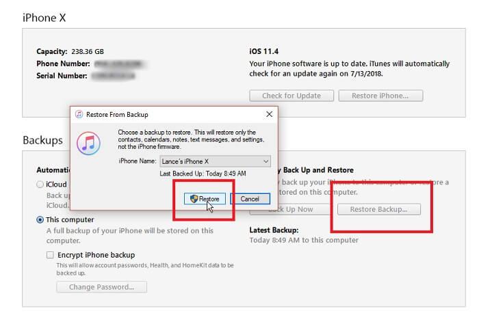 iTunes backup restoring