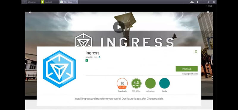 install ingress using bluestacks app