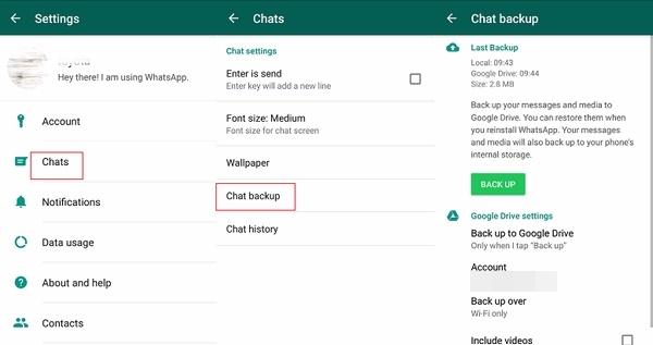 backup WhatsApp before you transfer WhatsApp account