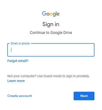 login to google drive