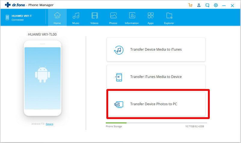 choose transfer device photos to PC