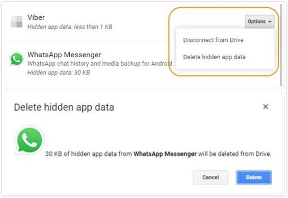 حذف نسخة Whatsapp احتياطية في google drive
