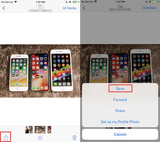 save pictures from whatsapp on iphone