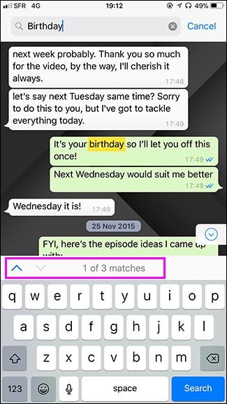 البحث عن دردشات WhatsApp 3