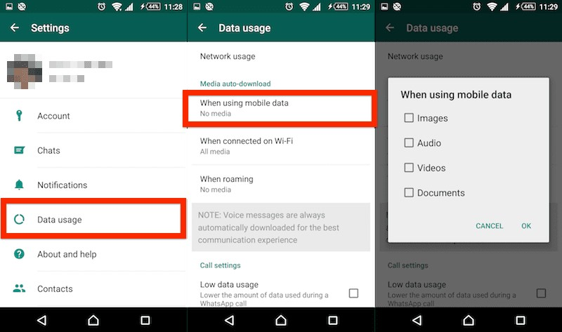 stop auto download on android