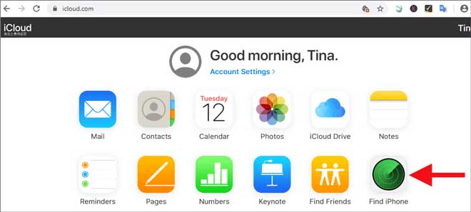 auf iphone finden klicken