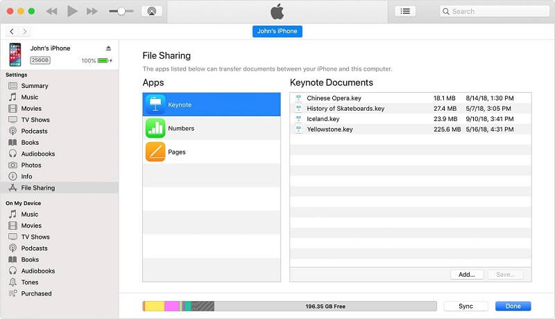 Itunes interface of file sharing