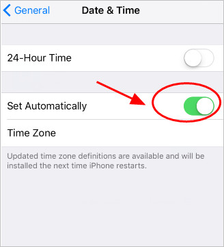 turn date and time to automatic