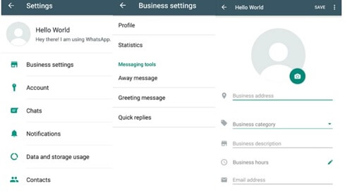 Impostazioni WhatsApp Business