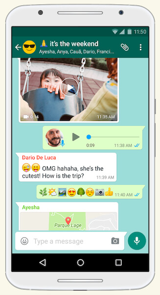 WhatsApp chat interface