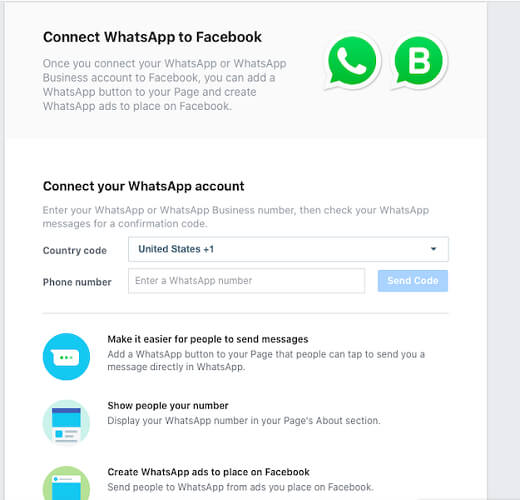 Connecter WhatsApp aux pages Facebook