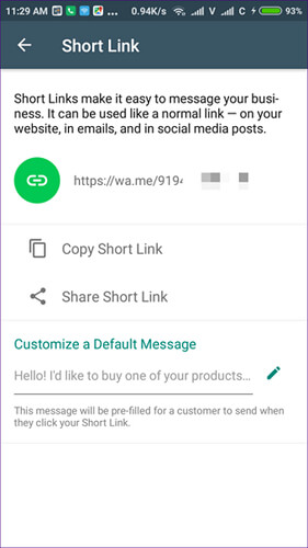 Whatsapp business short link