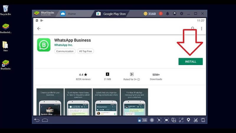 Cerca WhatsApp Business nella finestra BlueStacks