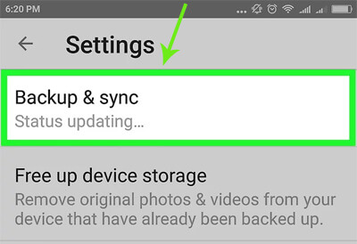 tap backup and sync on your motorola phone