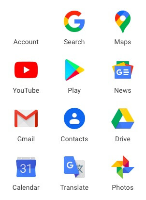 Google Photos icon in Google Apps menu
