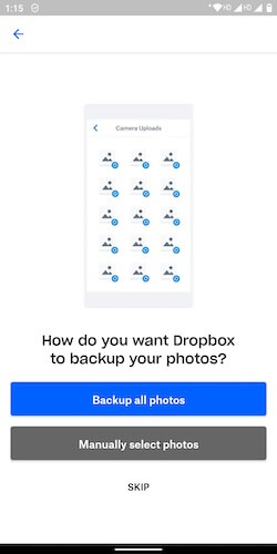Backup Photos in Dropbox