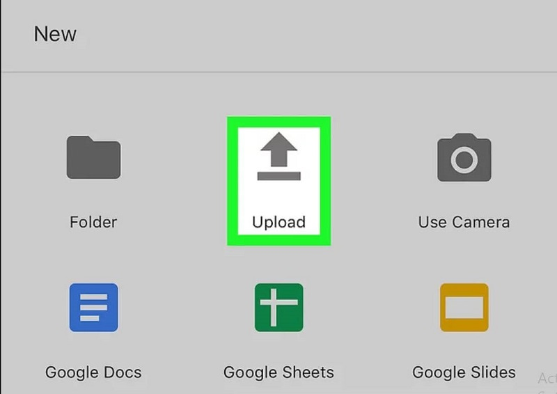 """Select"""" Upload"""" from given options"""