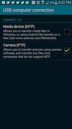 changing your connection type to camera (ftp)