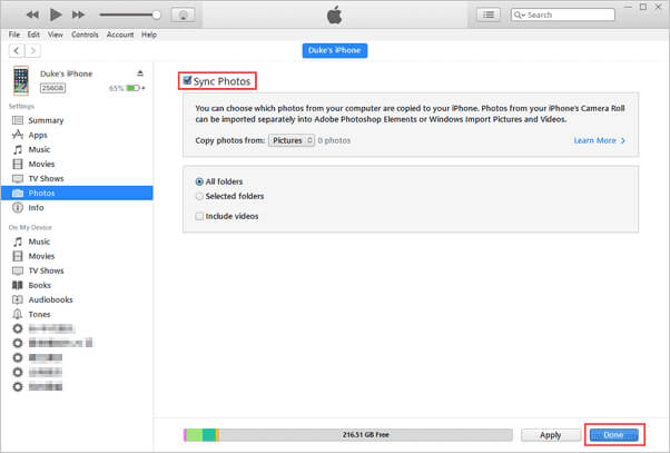 syncing photos on iTunes