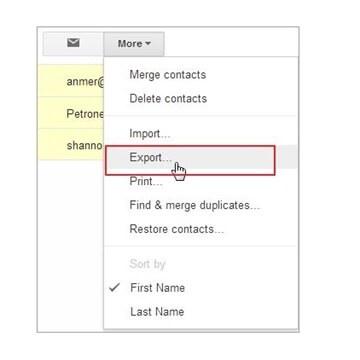 Gmail export