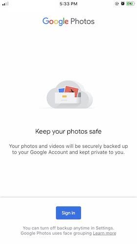 Google Photos on iOS