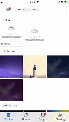 Google Photos Interface