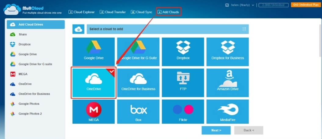 add multiple OneDrive accounts to MultCloud